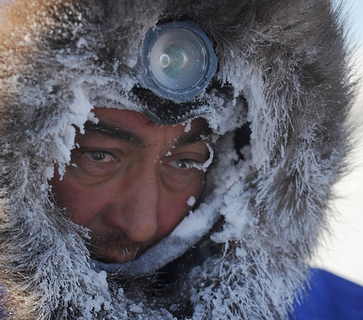 John Baker arrives at the Unalakleet checkpoint on Sunday March 14, 2010 during the 2010 Iditarod Sled Dog Race.  (AP Photo/Anchorage Daily News, Bob Hallinen)