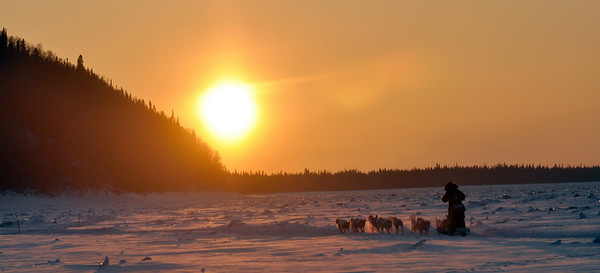 Aliy Zirkle heads out onto the Yukon River after leaving the Ruby, Alaska  checkpoint on Friday, March 12, 2010 during the Iditarod Trail Sled Dog Race. (AP Photo/Anchorage Daily News, Bob Hallinen)