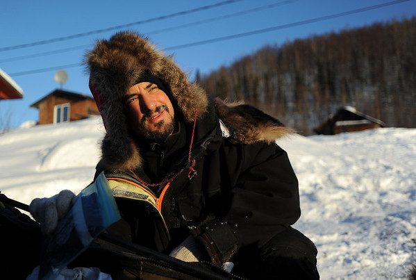 Musher Emil Churchin, the only musher in this year's race from Anchorage, prepares to leave the Takotna, Alaska  checkpoint on Friday, March 12, 2010 during the Iditarod Trail Sled Dog Race. (AP Photo/Anchorage Daily News, Bob Hallinen)