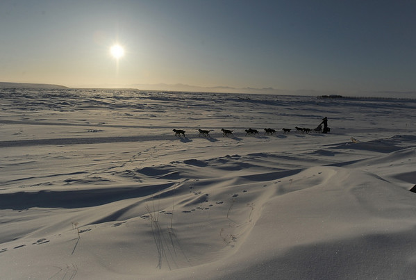 Jeff King leaves the Unalakleet, Alaska, checkpoint in second place on Sunday morning, March 14, 2010, in the Iditarod Trail Sled Dog Race. (AP Photo/Anchorage Daily News, Bob Hallinen)