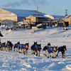 Lance Mackey leaves the Unalakleet checkpoint in first place on Sunday, March 14, 2010 during the 2010 Iditarod Sled Dog Race. (AP Photo/Anchorage Daily News, Bob Hallinen)