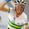 Australia's Cameron Meyer celebrates after winning the Men's Points Race at the World Track Cycling Championships at the Ballerup Arena, Copenhagen, Denmark, Wednesday, March, 24,  2010. (AP Photo/Alastair Grant)