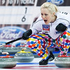 Norway skip Linn Githmark calls out while playing against Russia  at the 2010 World Women's Curling Championships in Swift Current, Saskatchewan, on Wednesday, March 24, 2010. (AP Photo/The Canadian Press, Nathan Denette)
