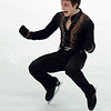 France's Brian Joubert reacts as he performs the Men's short program at the World Figure Skating Championships in Turin, Italy, Wednesday, March 24, 2010. (AP Photo/Massimo Pinca)