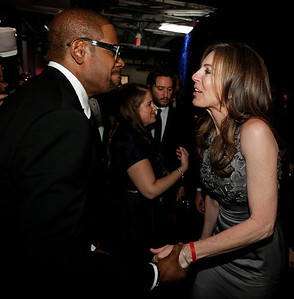 Forest Whitaker congratulates Kathryn Bigelow backstage at the 82nd Academy Awards Sunday,  March 7, 2010, in the Hollywood section of Los Angeles. (AP Photo/Chris Carlson)
