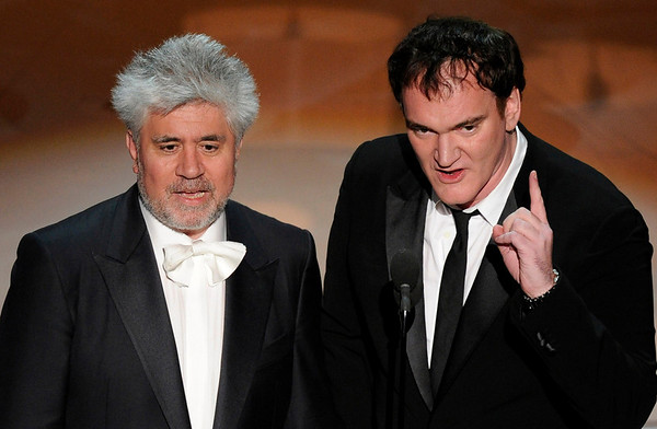 Pedro Almodovar, left, and Quentin Tarantino present the award for best foreign language film of the year during the 82nd Academy Awards Sunday,  March 7, 2010, in the Hollywood section of Los Angeles. (AP Photo/Mark J. Terrill)
