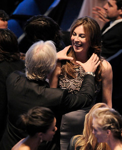 James Cameron, left, and Kathryn Bigelow are seen before the start of the 82nd Academy Awards Sunday,  March 7, 2010, in the Hollywood section of Los Angeles. (AP Photo/Mark J. Terrill)