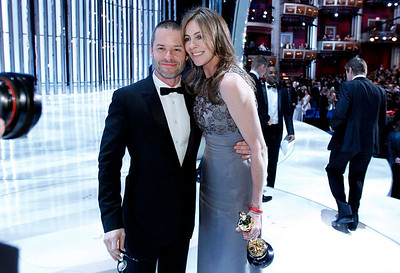 "Guy Pearce is seen with Kathryn Bigelow after she won the Oscars for best achievement in directing and best motion picture of the year for ""The Hurt Locker"" at the 82nd Academy Awards Sunday,  March 7, 2010, in the Hollywood section of Los Angeles. (AP Photo/Chris Carlson)"
