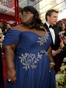 Matt Damon, right,  and Gabriel Sidibe are seen during arrivals of the 82nd Academy Awards Sunday,  March 7, 2010, in the Hollywood section of Los Angeles. (AP Photo/Amy Sancetta)