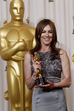 """Kathryn Bigelow poses backstage with the Oscar for best achievement in directing for """"The Hurt Locker"""" at the 82nd Academy Awards Sunday, March 7, 2010, in the Hollywood section of Los Angeles. (AP Photo/Matt Sayles)"""