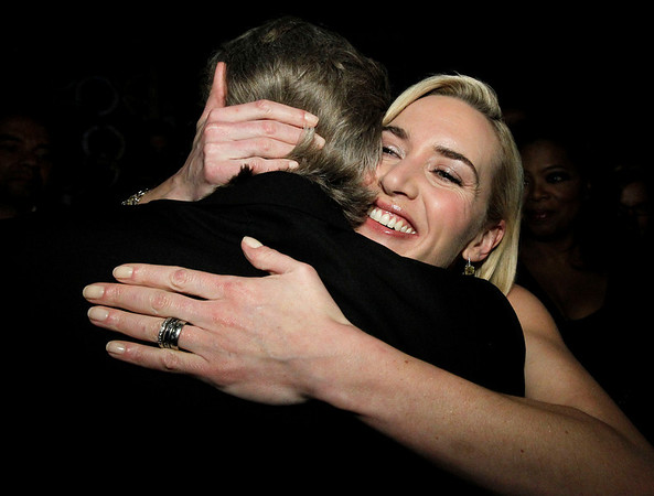 "Kate Winslet congratulates Jeff Bridges  backstage after he won the Oscar for best performance by an actor in a leading role for ""Crazy Heart"" at the 82nd Academy Awards Sunday,  March 7, 2010, in the Hollywood section of Los Angeles. (AP Photo/Chris Carlson)"