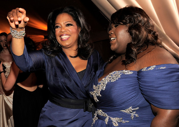 Oprah Winfrey, left and Gabourey Sidibe at the Governors Ball following the the 82nd Academy Awards Sunday,  March 7, 2010, in the Hollywood section of Los Angeles. (AP Photo/Chris Pizzello)