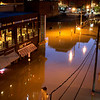 Businesses in downtown Nashville, Tenn., are surrounded by floodwater Monday, May 3, 2010. Heavy weekend rain caused the Cumberland River, which winds through Nashville, to over flow its banks flooding part of downtown and other areas around the city.  (AP Photo/Jeff Roberson)