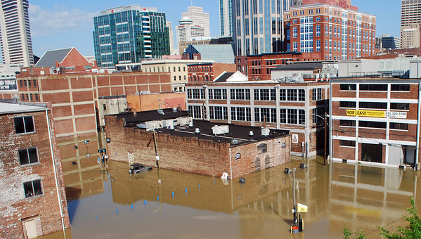 Parts of downtown  Nashville, Tenn. is flooded  on Monday, May 3, 2010. The Cumberland River continues to rise at Nashville, but is nearing its crest. Floodwater has spilled onto a couple of downtown streets near the riverfront and restaurants and bars in the tourist district are closed.   (AP Photo/Kristin M. Hall )