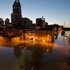 Floodwater from the Cumberland River creeps into downtown Nashville, Tenn., Monday, May 3, 2010. Heavy weekend rain caused the Cumberland River, which winds through Nashville, to overflow its banks flooding part of downtown and other areas around the city. (AP Photo/Jeff Roberson)