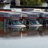 Floodwater surrounds U-Haul trucks Monday, May 3, 2010, in Nashville, Tenn. After heavy weekend rains and flooding, officials in Tennessee are preparing for the Cumberland River, which winds through Nashville, to crest sometime Monday afternoon.  (AP Photo/Jeff Roberson)