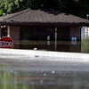 The guard post at the artists' entrance to the Grand Ole Opry House in Nashville, Tenn., is under water on Monday, May 3, 2010. After heavy weekend rains and flooding, officials in Tennessee are preparing for the Cumberland River, which winds through Nashville, to crest more than 11 feet Monday afternoon. (AP Photo/Mark Humphrey)