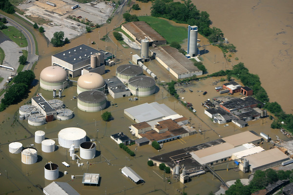 An Industrial Park is flooded on the Cumberland River, Nashville, Tenn., Monday, May 3, 2010. The water is reported to be still rising. (AP Photo/The Tennessean, Samuel M. Simpkins)