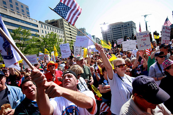 People attend a tea party protest in Washington, Thursday, April 15, 2010. (AP Photo/Jacquelyn Martin)