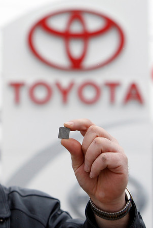 A shim that will be used to repair springs in the gas pedal systems of recalled Toyota automobiles is displayed at a Toyota dealer, Wednesday, Feb. 3, 2010, in Topsham, Maine. Toyota Motor Corp. has issued the parts to fix sticky gas pedals but the 4.2 million customers affected by the recall will have to wait until technicians are trained. (AP Photo/Robert F. Bukaty)