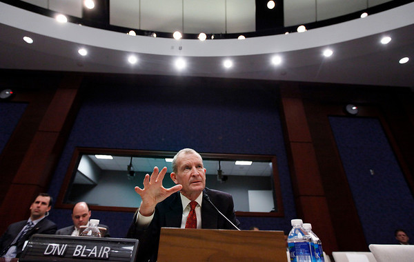 Director of National Intelligence Dennis Blair testifies on Capitol Hill in Washington, Wednesday, Feb. 3, 2010, before the House Intelligence Committee hearing on the annual threats assessment of the U.S. intelligence community.  (AP Photo/Manuel Balce Ceneta)