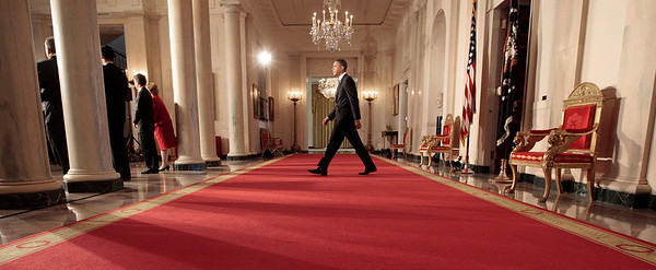 APTOPIX_Obama_Budget_DCPM11.JPG President Barack Obama, center, walks out to delivers a statement on his budget that he sent to Congress, Monday, Feb. 1, 2010, in the Grand Foyer of the White House in Washington. (AP Photo/Pablo Martinez Monsivais)