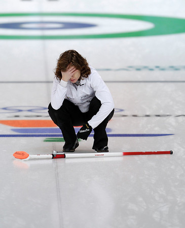 Swiss skip Mirjam Ott reacts after losing to Canada in a semi-final womens curling match at the Vancouver 2010 Olympics in Vancouver, British Columbia, Thursday, Feb. 25, 2010. (AP Photo/Robert F. Bukaty)