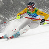 Germany's Maria Riesch speeds down the course on her way to clinch the gold medal in the Women's slalom, at the Vancouver 2010 Olympics in Whistler, British Columbia, Friday, Feb. 26, 2010. (AP Photo/Luca Bruno)