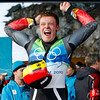 Felix Loch of Germany celebrates his gold medal finish during the final run of the men's singles luge competition at the Vancouver 2010 Olympics in Whistler, British Columbia, Sunday, Feb. 14, 2010. (AP Photo/Michael Sohn)