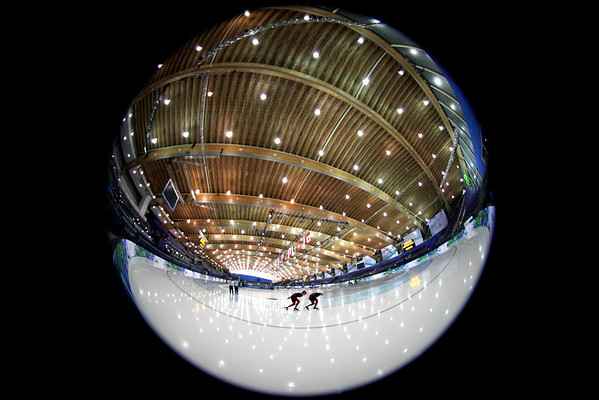Speed skaters train at the Richmond Olympic Oval at the Vancouver 2010 Olympics in Vancouver, British Columbia, Thursday, Feb. 11, 2010. (AP Photo/Kevin Frayer)