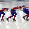 Female athletes from Russia train at the Richmond Olympic Oval at the Vancouver 2010 Olympics in Vancouver, British Columbia, Friday, Feb. 12, 2010. (AP Photo/Kevin Frayer)