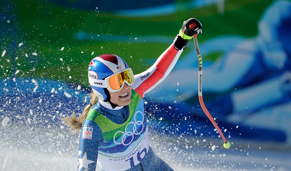Lindsey Vonn of the United States reacts in the finish area after completing the Women's downhill at the Vancouver 2010 Olympics in Whistler, British Columbia, Wednesday, Feb. 17, 2010.    (AP Photo/Gero Breloer)