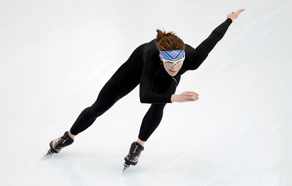 U.S. speedskater Jennifer Rodriguez from Miami takes part in a practice session ahead of the start of the Vancouver 2010 Olympics at the Richmond Olympic Oval in Vancouver, British Columbia, Tuesday, Feb. 9, 2010.  The Vancouver 2010 Olympic Games begin Feb. 12.  (AP Photo/Matt Dunham)