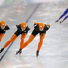 Speed skaters of the Netherlands train at the Richmond Olympic Oval at the Vancouver 2010 Olympics in Vancouver, British Columbia, Friday, Feb. 12, 2010. (AP Photo/Kevin Frayer)