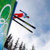 Russia's Ilja Rpsliakov makes his qualification jump during the ski jumping normal hill qualification at the Vancouver 2010 Olympics in Whistler, British Columbia, Canada, Friday, Feb. 12, 2010. (AP Photo/Matthias Schrader)