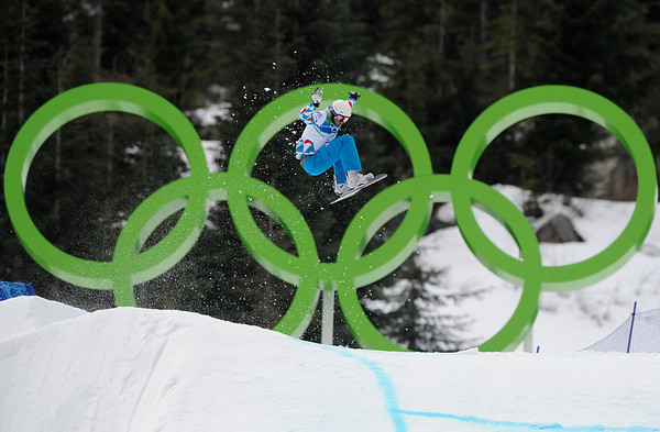 Pierre Vaultier of France during the second snowboard cross qualifying run at the Vancouver 2010 Olympics in Vancouver, British Columbia, Monday, Feb. 15, 2010. (AP Photo/Mark J. Terrill)