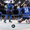 Finland's Jere Lehtinen, left, Joni Pitkanen, center, and  Finland's Miikka Kiprusoff watch as the puck goes in the net on a goal by Sweden's Nicklas Backstom in the second period of a preliminary round men's ice hockey game at the Vancouver 2010 Olympics in Vancouver, British Columbia, Sunday, Feb. 21, 2010. (AP Photo/Julie Jacobson, Pool)