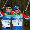 Russia's Nikita Kriukov, left, gold, and Russia's Alexander Panzhinskiy, silver celebrate after the Men's  individual classic sprint Cross Country final at the Vancouver 2010 Olympics in Whistler, British Columbia, Canada, Wednesday, Feb. 17, 2010. (AP Photo/Matthias Schrader)