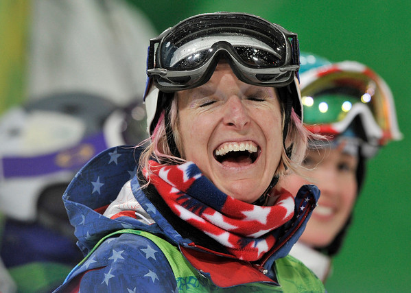 Shannon Bahrke of the USA reacts after her moguls final run at the Vancouver 2010 Olympics in Vancouver, British Columbia, Saturday, Feb. 13, 2010. (AP Photo/Bela Szandelszky)