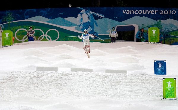 Canada's Kristi Richards takes part in a training run on the moguls course at Cypress Mountain in West Vancouver, British Columbia, Canada, on Tuesday, Feb. 9, 2010, for the Vancouver Winter Olympics. (AP Photo/The Canadian Press, Jonathan Hayward)