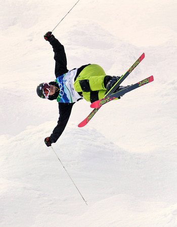 Tapio Luusua, of Finland, practices at the Cypress Mountain snowboard and freestyle ski venue during a training session at the Vancouver 2010 Olympics in Vancouver, British Columbia, Tuesday, Feb. 9, 2010. (AP Photo/Odd Andersen)