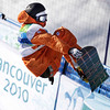 Dolf Van Der Wal of Holland compete in the men's halfpipe at the Vancouver 2010 Olympics in Vancouver, British Columbia, Wednesday, Feb. 17, 2010. (AP Photo/Odd Andersen)