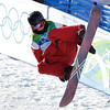 Xiaoye Zeng of China compete in the men's halfpipe at the Vancouver 2010 Olympics in Vancouver, British Columbia, Wednesday, Feb. 17, 2010. (AP Photo/Odd Andersen)