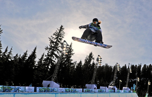 Shaun White of the USA competes in the men's halfpipe at the Vancouver 2010 Olympics in Vancouver, British Columbia, Wednesday, Feb. 17, 2010. (AP Photo/Mark J. Terrill)