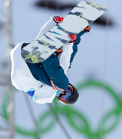 Staale Sandbech of Norway competes in the men's halfpipe competition at the Vancouver 2010 Olympics in Vancouver, British Columbia, Wednesday, Feb. 17, 2010. (AP Photo/Gerry Broome)