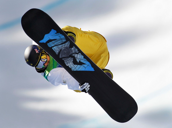 Ben Mates of Australia compete in the men's halfpipe at the Vancouver 2010 Olympics in Vancouver, British Columbia, Wednesday, Feb. 17, 2010. (AP Photo/Odd Andersen)