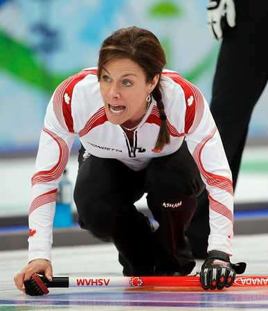 Canada skip Cheryl Bernard shouts to her sweepers in a defeat to China in women's curling at the Vancouver 2010 Olympics in Vancouver, British Columbia, Sunday, Feb. 21, 2010. (AP Photo/Robert F. Bukaty)