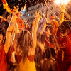 Spanish fans celebrate in a fountain in downtown Madrid after Spain defeated the Netherlands to win the World Cup soccer final, played in South Africa, on Sunday, July 11, 2010. Spain won 1-0. (AP Photo/Arturo Rodriguez)