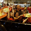 Spain WCup Soccer.JPEG-0cbd.JPG Spanish fans celebrate as they drive in downtown Madrid after Spain defeated the Netherlands to win the World Cup soccer final, which is being played in South Africa, on Sunday, July 11, 2010. Spain won 1-0.(AP Photo/Paul White)