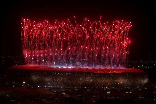 South Africa Soccer WCu(3).JPG Fireworks are set off above Johannesburg's Soccer City Stadium after Spain beat Netherlands in the final of the World Cup Soccer Tournament Sunday, July 11, 2010. (AP Photo/Denis Farrell)